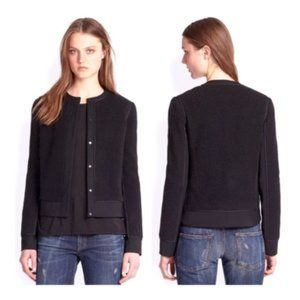 VINCE Black Boucle Overlay Snap Up Jacket 6